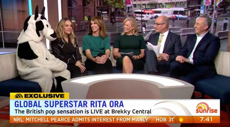 Rita joined the Cash Cow and the rest of the team on the Sunrise couch. Source: Seven