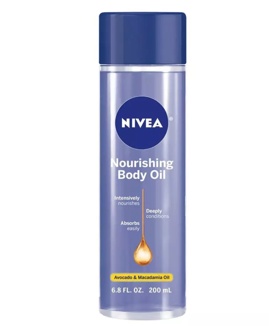 """This is a great no-frills oil for under $20. It's made with a lightweight blend of avocado and macadamia oils that absorb quickly but deeply moisturize your skin. The bigger bottle also means you'll be stocked for the entire winter. $14, Amazon. <a href=""""https://www.amazon.com/NIVEA-Nourishing-Body-Oil-6-8/dp/B01H6OYPGM"""" rel=""""nofollow noopener"""" target=""""_blank"""" data-ylk=""""slk:Get it now!"""" class=""""link rapid-noclick-resp"""">Get it now!</a>"""