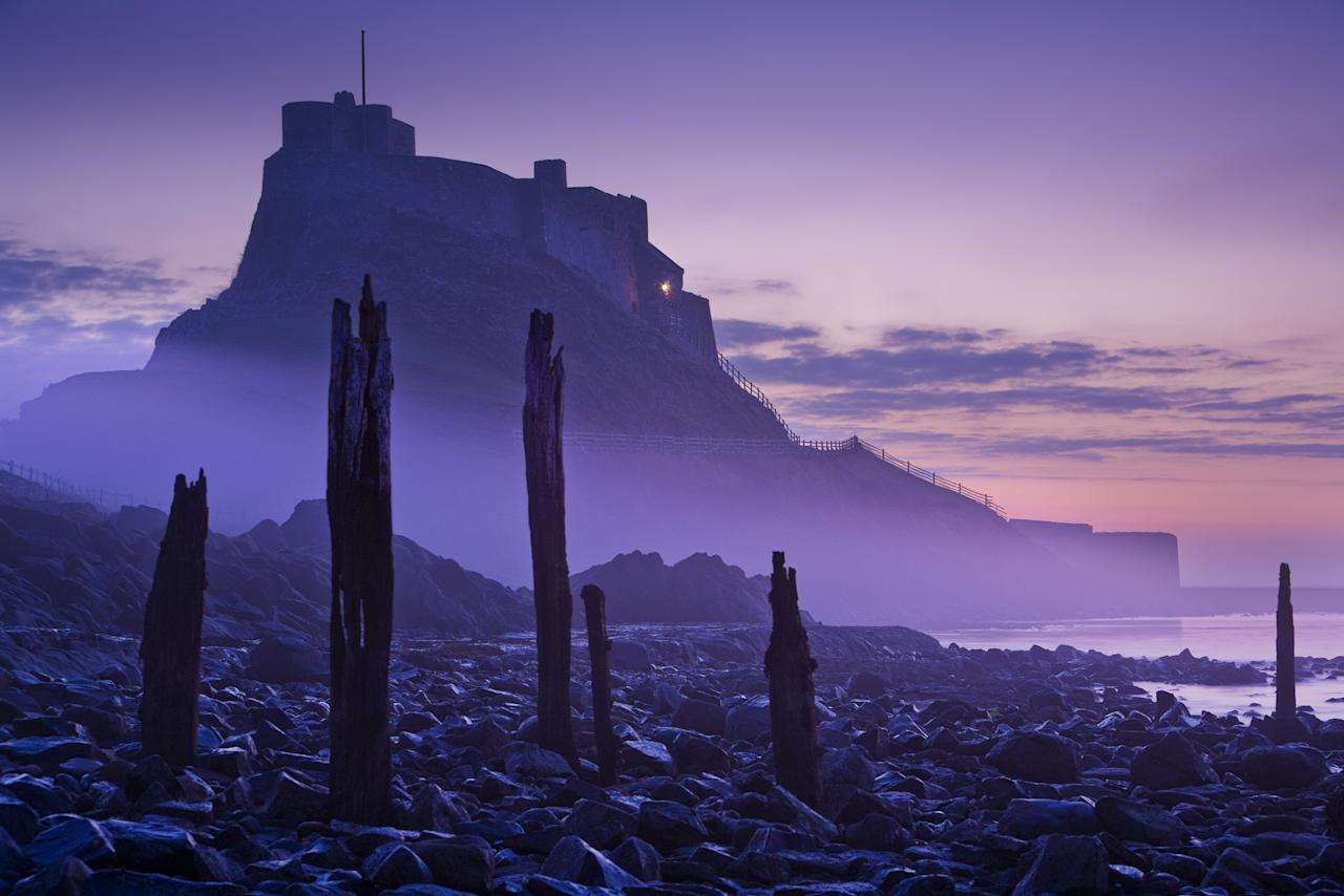 Lindisfarne, Northumberland: Gary Waidson's inspiring image featured in the Classic View, adult class section. He captured the 'ever-changing scene of pastel colours' well before dawn, with the posts of the old pier appearing to echo the outline of the fortress. (Gary Waidson, Landscape Photographer of the Year)