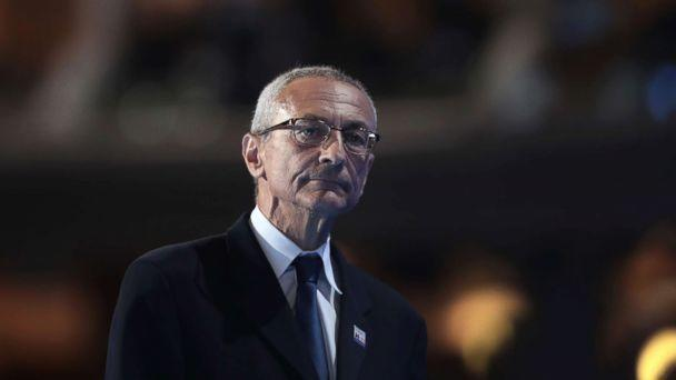 PHOTO: John Podesta, chair of the Hillary Clinton presidential campaign, walks off stage after delivering a speech on the first day of the Democratic National Convention at the Wells Fargo Center, July 25, 2016 in Philadelphia. (Drew Angerer/Getty Images, FILE)