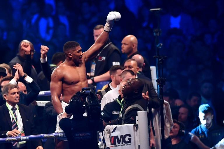 Britain's Anthony Joshua celebrates in the ring after his victory over Ukraine's Wladimir Klitschko in the eleventh round of their IBF, IBO and WBA, world Heavyweight title fight at Wembley Stadium in north west London on April 29, 2017