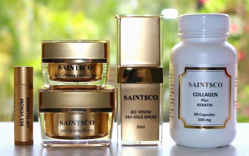 <p>Hailing from New Zealand, Saintsco is known for its bee-venom-infused products, which help to instantly lift and firm the skin. Rumor has it that Kate Middleton and Gwyneth Paltrow are in on the trend as an alternative to Botox. (Photo: Saintsco)</p>