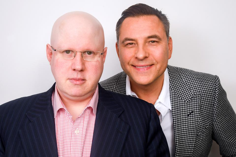 LONDON, ENGLAND - OCTOBER 27: Matt Lucas and David Walliams pose during the Brexit Comedy Show by Radio 4 at Shaw Theatre on October 27, 2019 in London, England. (Photo by Dave J Hogan/Getty Images)