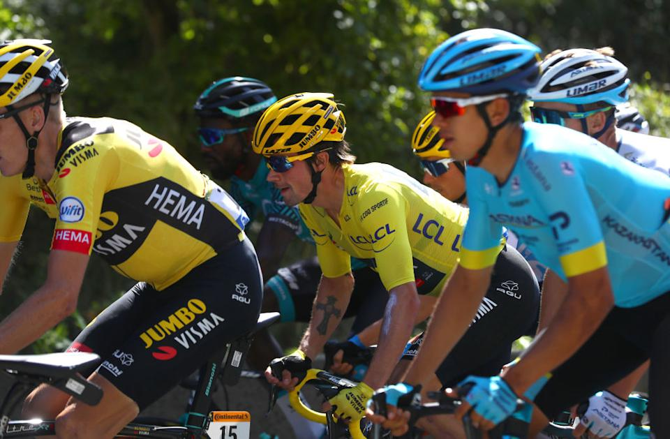 Primoz Roglic stayed safely in the yellow jersey