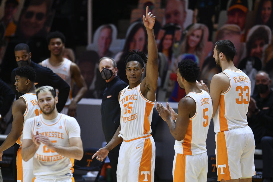 Tennessee Volunteers guard Yves Pons (35) waves to fans as he leaves the court during a win over Florida on March 7, 2021. (AP)