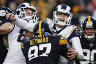 Los Angeles Rams quarterback Jared Goff (16) is hit by Pittsburgh Steelers defensive end Cameron Heyward (97) after getting off a pass during the first half of an NFL football game in Pittsburgh, Sunday, Nov. 10, 2019. (AP Photo/Keith Srakocic)