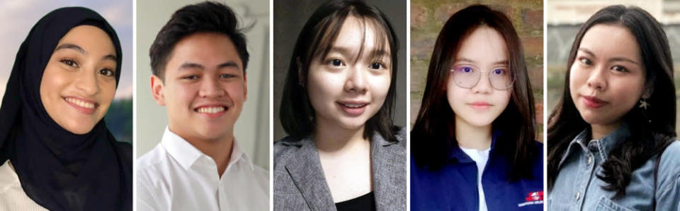 (From left) Sharifah Maheerah Syed Haizir, Ivan Alexander Ong, Tiffany Wee Ke Ying, Viviyen Desi Geoge, and Chang Swee Ern are the five Malaysian youths aged 18 to 20 who filed a lawsuit in Sarawak to challenge the government's decision to delay implement