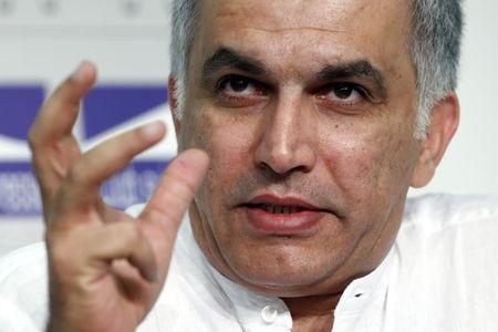Nabeel Rajab, president of the Bahrain Center for Human Rights, gestures during a conference at the Swiss Press Club in Geneva