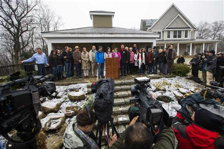 Relatives of the victims killed in the Sandy Hook Elementary School tragedy in Newtown, Connecticut give a statement regarding the formation of the website mysandyhookfamily.org just before the one year anniversary of the disaster in Sandy Hook, Connecticut December 9, 2013. REUTERS/Lucas Jackson