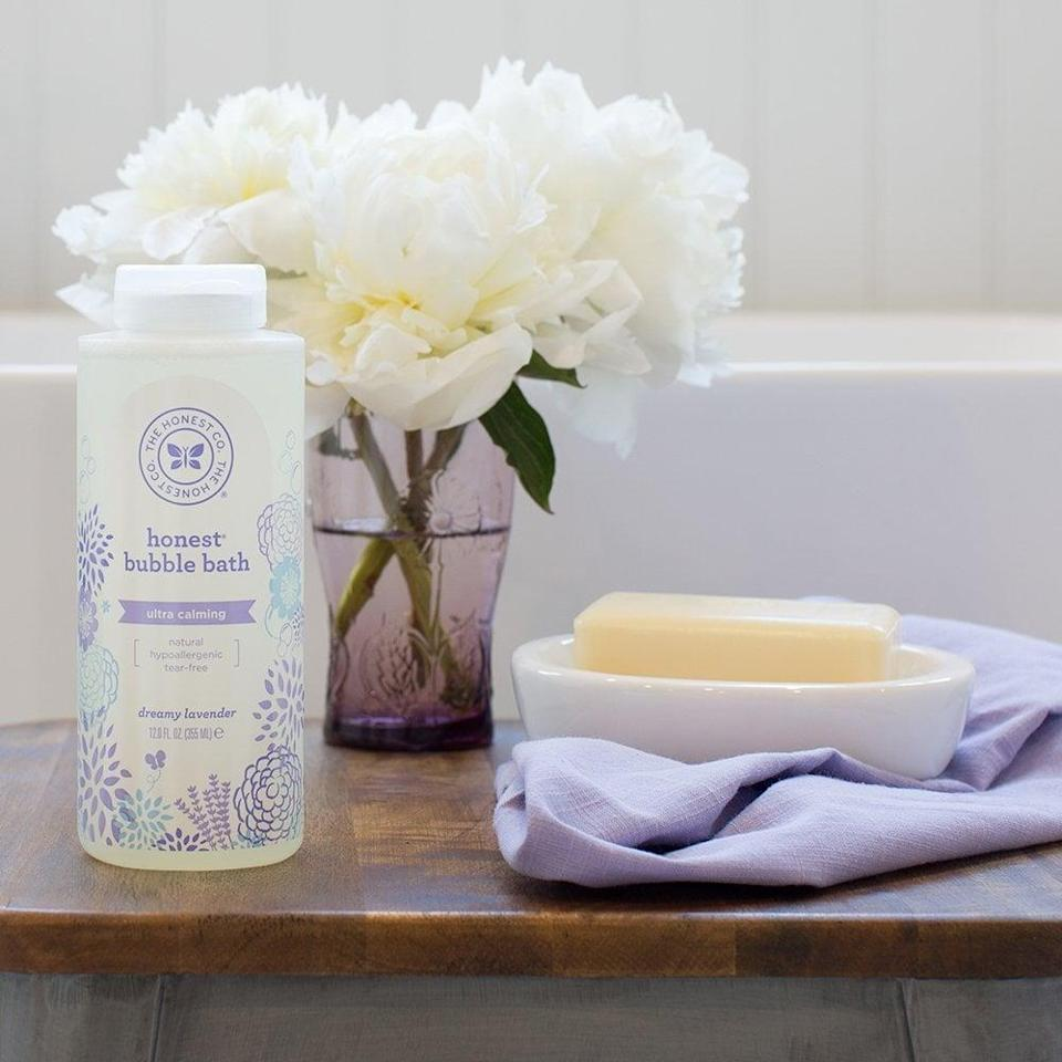 <p>Relax and unwind in a tub filled with <span>Honest Calming Lavender Hypoallergenic Bubble Bath</span> ($12).</p>