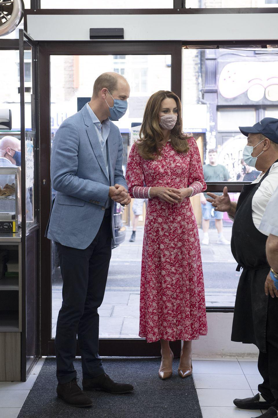 Kate Middleton Steps Out in $707 Red Floral Dress and Mask for Surprise London Event