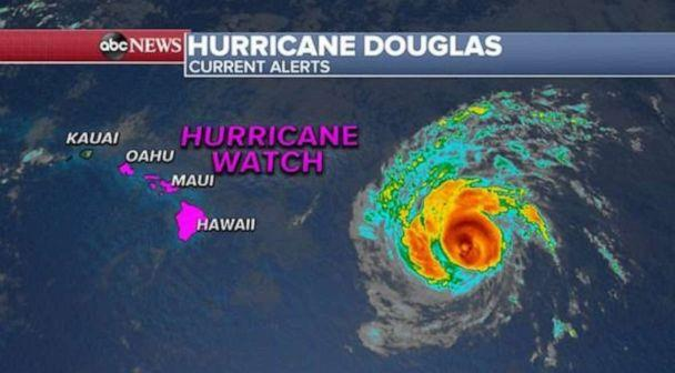 PHOTO: Hurricane Douglas remains a Category 3 hurricane as of 3 a.m. EST with sustained winds of 115 mph and is moving WNW at 20 mph toward Hawaii. (ABC News)