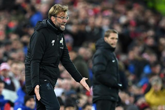 Liverpool's manager Jurgen Klopp gestures on the touchline during their match against Chelsea at Anfield in Liverpool, north west England on November 25, 2017 (AFP Photo/Paul ELLIS)