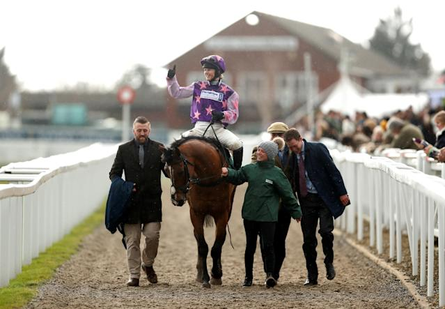 Horse Racing - Cheltenham Festival - Cheltenham Racecourse, Cheltenham, Britain - March 16, 2018 Bridget Andrews on Mohaayed celebrates after winning the 14.10 Randox Health County Handicap Hurdle Action Images via Reuters/Matthew Childs