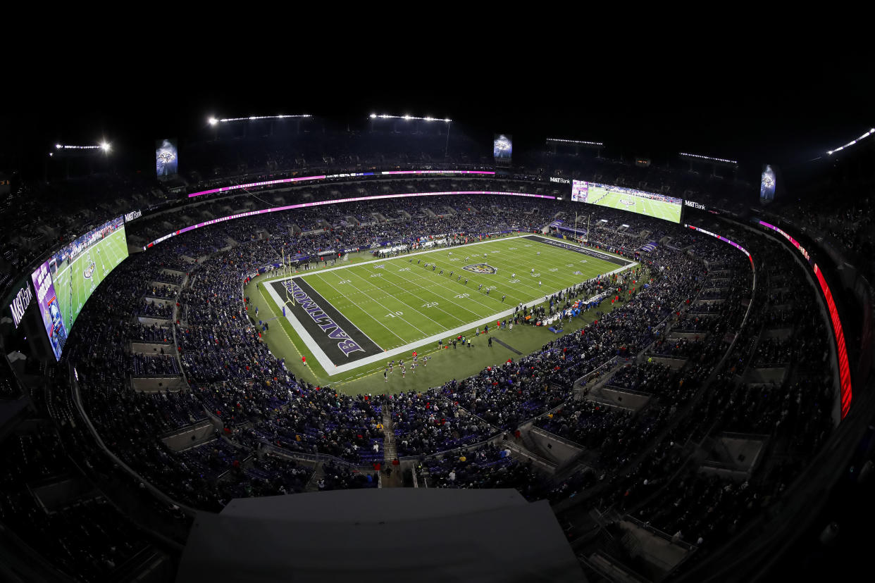 BALTIMORE, MD - DECEMBER 12: A general view of the stadium during the opening kickoff of the game between the Baltimore Ravens and the New York Jets at M&T Bank Stadium on December 12, 2019 in Baltimore, Maryland. (Photo by Scott Taetsch/Getty Images)