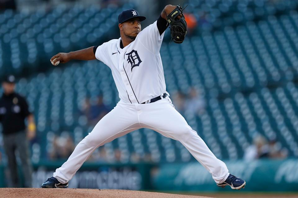 Detroit Tigers starting pitcher Wily Peralta (58) throws a pitch during the first inning against the Oakland Athletics at Comerica Park on Sept. 1, 2021.