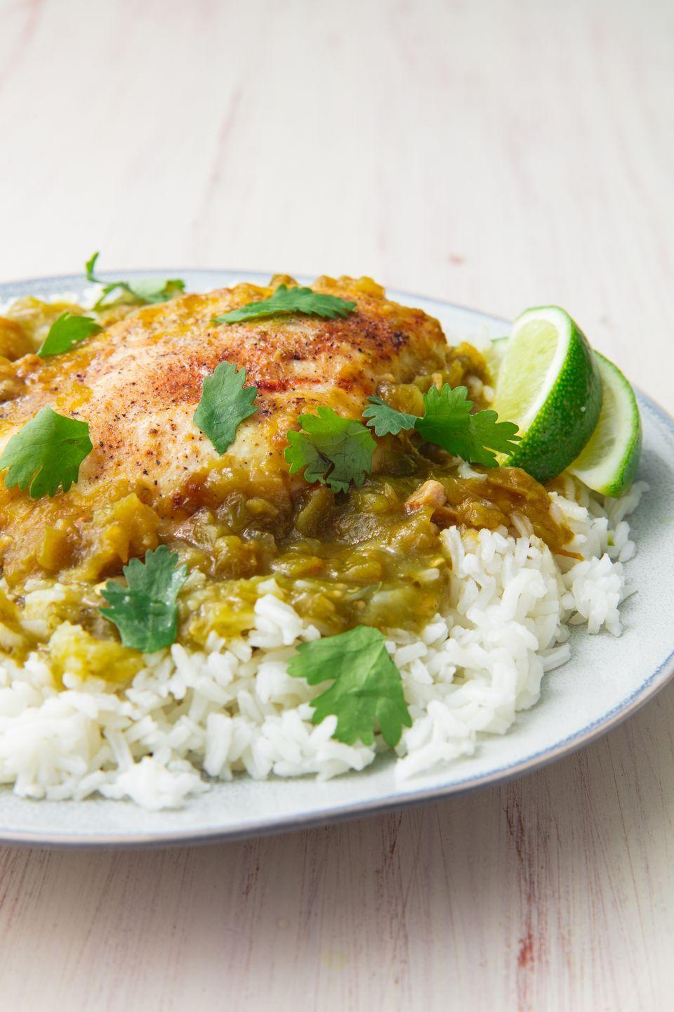 "<p>The perfect weeknight dinner—with a kick.</p><p>Get the recipe from <a href=""https://www.delish.com/cooking/recipe-ideas/recipes/a50766/baked-salsa-verde-chicken-recipe/"" rel=""nofollow noopener"" target=""_blank"" data-ylk=""slk:Delish"" class=""link rapid-noclick-resp"">Delish</a>.</p>"