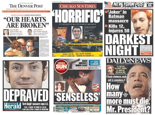 how newspapers covered colorado theater massacre on their front pages