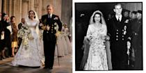 <p>The royal couple married on November 20, 1947 at Westminster Abbey.</p>