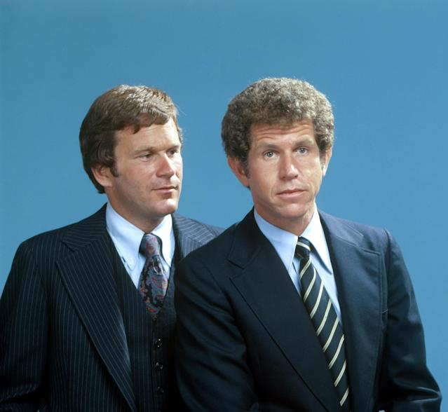 Before Ronald McDonald came along, Squire Fridell, left, had a regular role on the 1977 drama <em>Rossetti and Ryan </em>opposite Tony Roberts. (Photo: Courtesy Everett Collection)