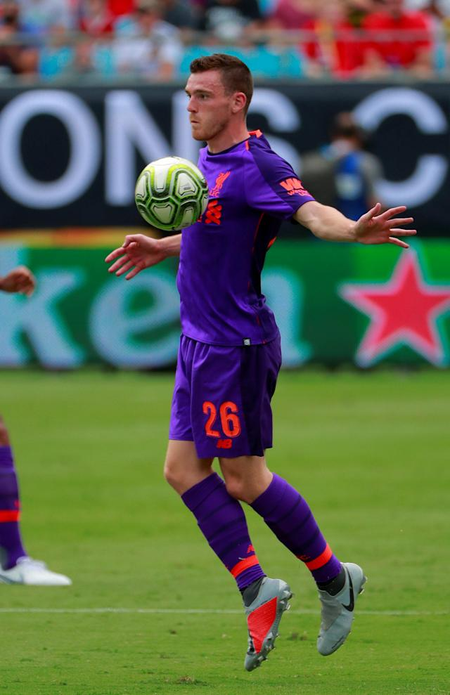 Soccer Football - International Champions Cup - Liverpool v Borussia Dortmund - Bank of America Stadium, Charlotte, USA - July 22, 2018 Liverpool's Andrew Robertson in action REUTERS/Chris Keane