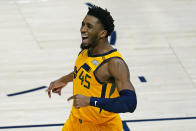 Utah Jazz guard Donovan Mitchell (45) reacts after scoring against the Charlotte Hornets in the second half during an NBA basketball game Monday, Feb. 22, 2021, in Salt Lake City. (AP Photo/Rick Bowmer)
