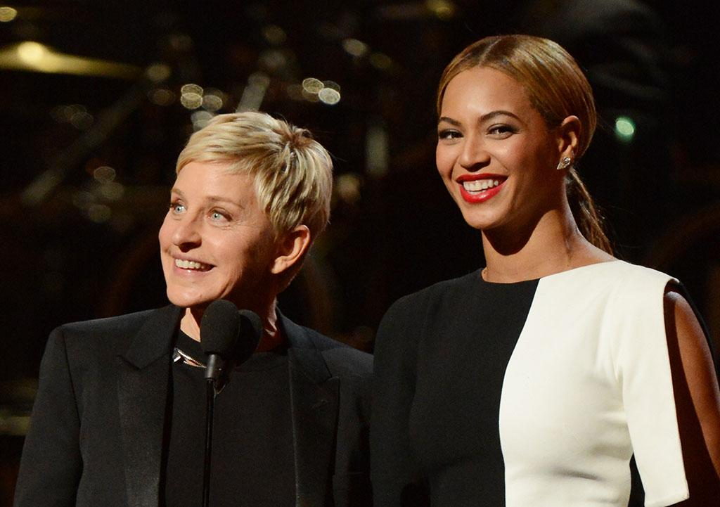Ellen DeGeneres and Beyonce onstage at the 55th Annual Grammy Awards at the Staples Center in Los Angeles, CA on February 10, 2013.