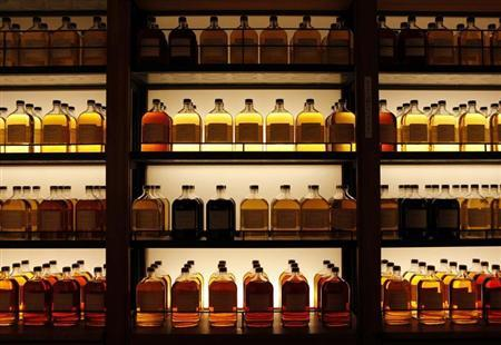 Bottles of Suntory Holdings single cask whisky are displayed at its Yamazaki Distillery in Shimamoto town