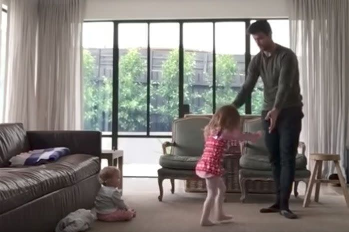 Trent Cotchin and his daughter Harper take part in an adorable dance routine in their lounge room. Source: Instagram