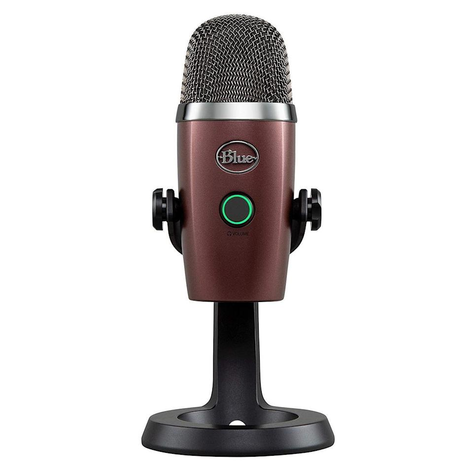 """<p><strong>Blue Yeti</strong></p><p>amazon.com</p><p><strong>$99.99</strong></p><p><a href=""""http://www.amazon.com/dp/B07DV2WK77/?tag=syn-yahoo-20&ascsubtag=%5Bartid%7C2089.g.864%5Bsrc%7Cyahoo-us"""" rel=""""nofollow noopener"""" target=""""_blank"""" data-ylk=""""slk:Shop Now"""" class=""""link rapid-noclick-resp"""">Shop Now</a></p><p>The Blue Yeti Nano microphone is easy to set up and use, as well as capable of capturing audio with exceptional quality and no latency delay. The device is a great buy for home audio producers and gamers who like to stream their adventures online.</p><p>There are multiple colors to choose from, including this awesome option, dubbed Red Onyx. The device is compatible with both PC and Mac computers.</p>"""