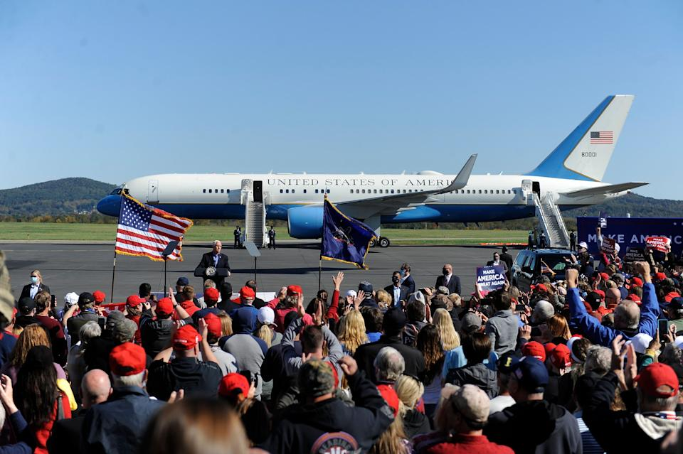 Vice President Mike Pence arrives at a campaign rally at the Reading Regional Airport on Oct. 17. A rising Latino population in the area has cut into Trump's 2016 leads. (Photo: Michael Perez/ASSOCIATED PRESS)