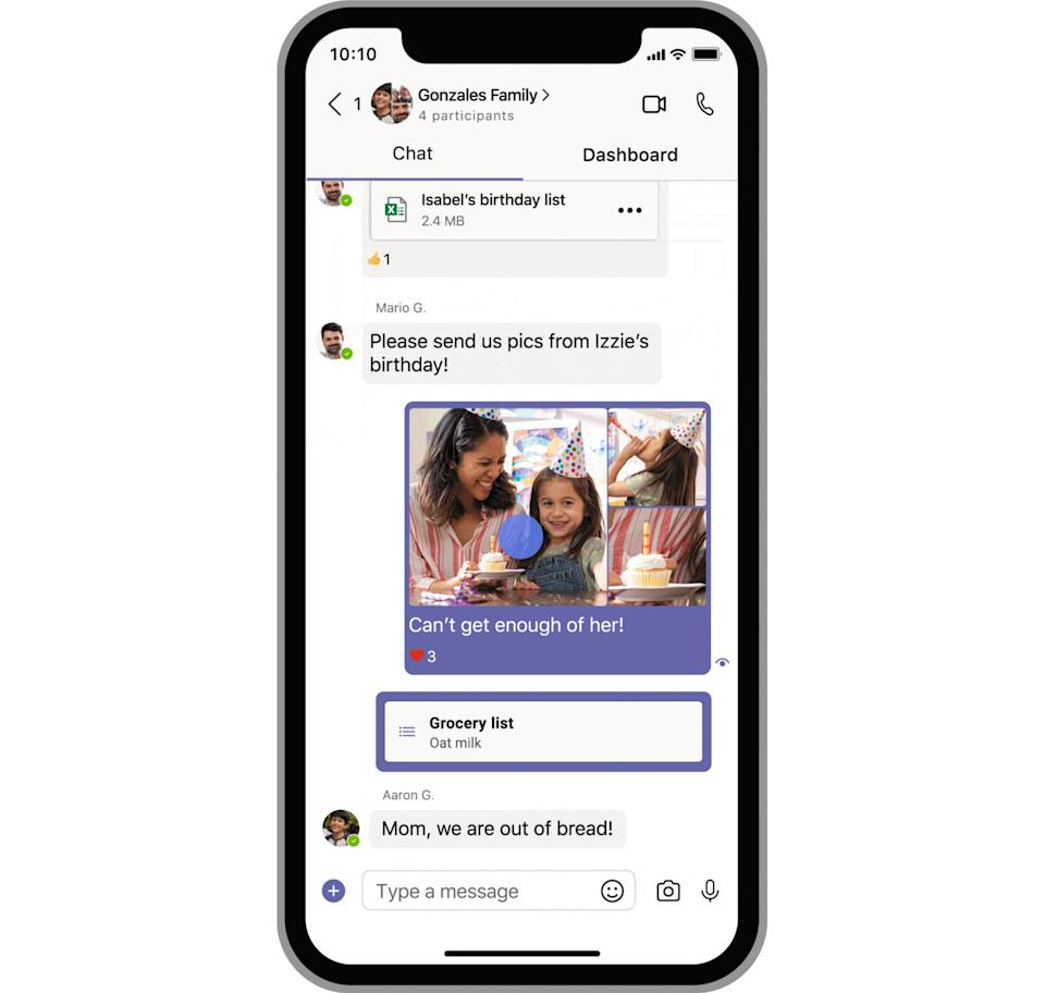 Microsoft says users will be able to create to-do lists, add calendar invitations, and more in the consumer version of Teams. (Image: Microsoft)