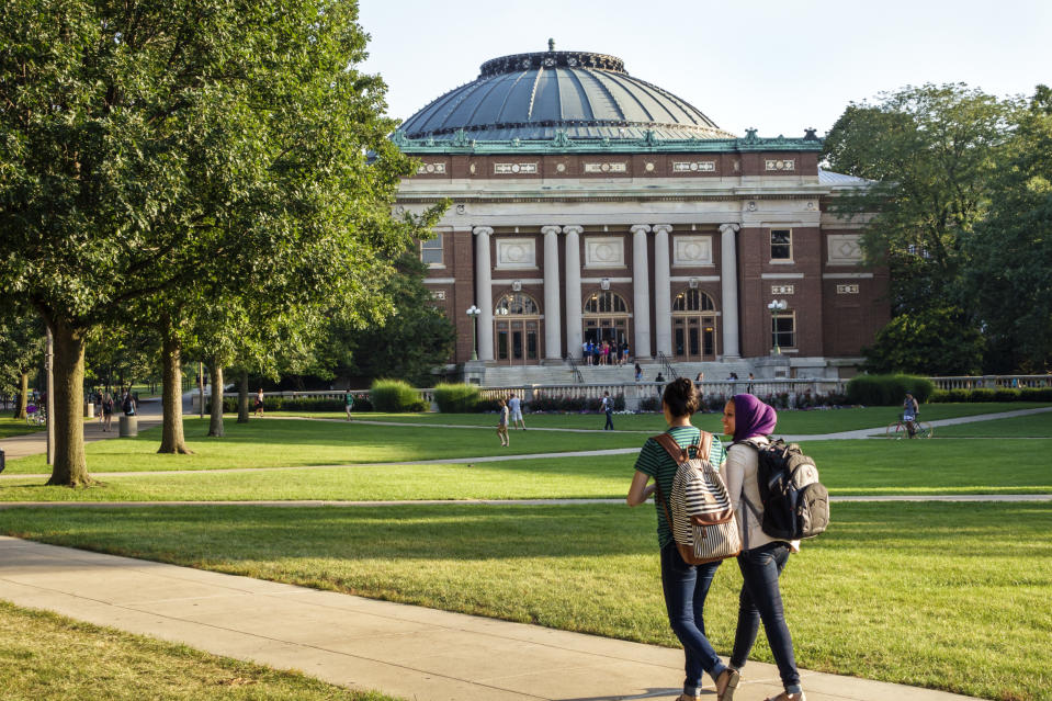 Muslim students wearing hijab scarf on campus of the University of Illinois. (Photo by: Jeffrey Greenberg/Universal Images Group via Getty Images)