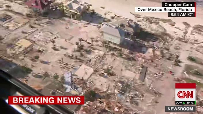Mexico Beach, Fla., as seen from a helicopter chartered by CNN on Thursday morning. (Screengrab: CNN)