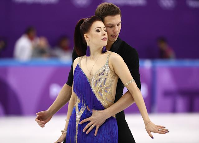 <p>Ekaterina Bobrova and Dmitri Soloviev of Olympic Athlete from Russia compete in the Figure Skating Team Event – Ice Dance – Short Dance on day two of the PyeongChang 2018 Winter Olympic Games at Gangneung Ice Arena on February 11, 2018 in Gangneung, South Korea. (Photo by Jamie Squire/Getty Images) </p>