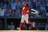 Philadelphia Phillies' Freddy Galvis comes in to score on a fielder's choice by Nick Maton during the eighth inning of a baseball game against the Washington Nationals, Thursday, Sept. 2, 2021, in Washington. The Phillies won 7-6. (AP Photo/Nick Wass)