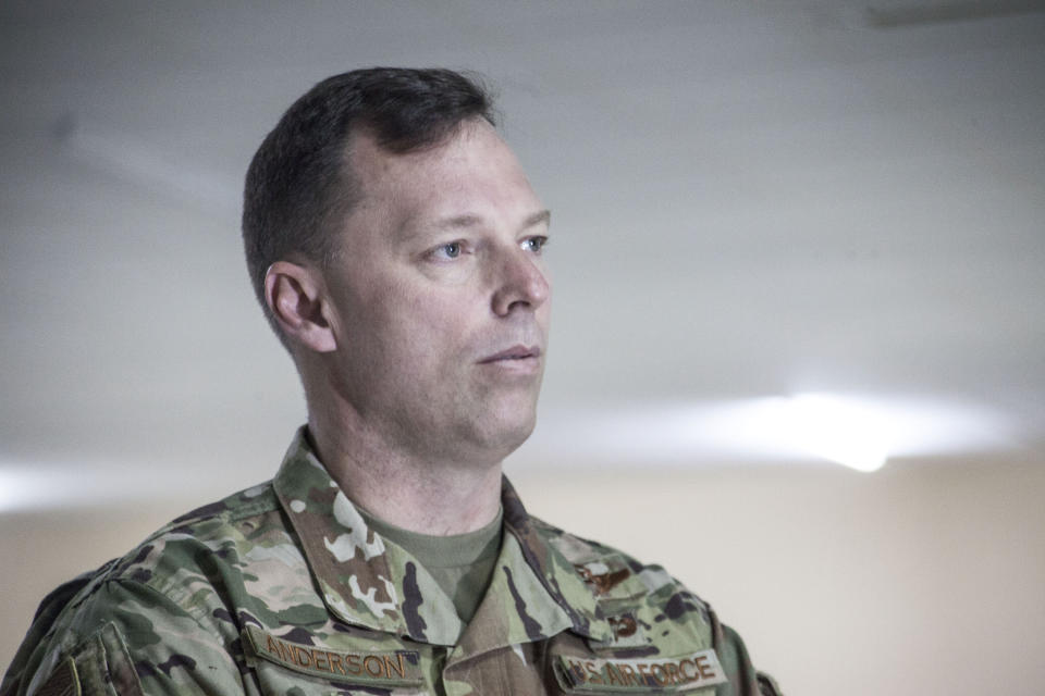 """In this photograph taken Tuesday Feb. 25, 2020, U.S. Air Force Brig. Gen. Dagvin Anderson, commander of the U.S. military's special forces in Africa, speaks to the Associated Press in Thies, Senegal. The only place in the world where fighters linked to al-Qaida and the Islamic State group are cooperating is in West Africa's sprawling Sahel region. The commander of the U.S. military's special forces in Africa says that """"if it's left unchecked it could very easily develop into a great threat to the West and the United States."""" (AP Photo/Cheikh A.T Sy)"""