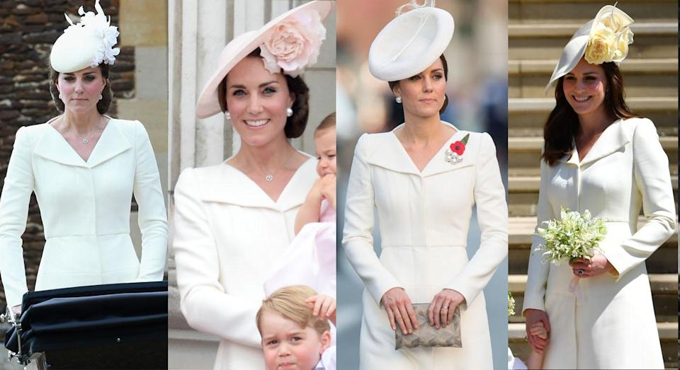 The Duchess of Cambridge wearing the dress in 2015, 2016, 2017 and finally at Harry and Meghan's wedding. [Photos: Getty]