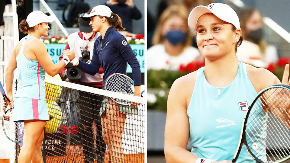 Ash Barty (pictured right) thanking the crowd and (pictured left) shaking hands with Iga Swiatek at the net at the Madrid Open.