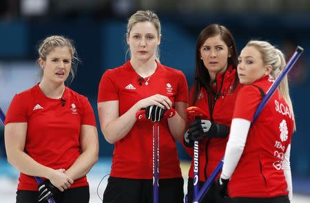 Curling - Pyeongchang 2018 Winter Olympics - Women's Bronze Medal Match - Britain v Japan - Gangneung Curling Center - Gangneung, South Korea - February 24, 2018 - Second Vicki Adams of Britain and her teammates, lead Lauren Gray, skip Eve Muirhead and vice-skip Anna Sloan, are seen. REUTERS/John Sibley