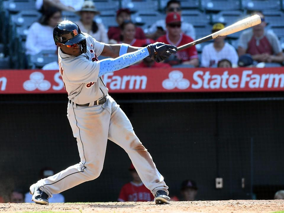 Detroit Tigers center fielder Daz Cameron (41) hits a two run RBI single against the Los Angeles Angels at Angel Stadium in Anaheim, California, on Sunday, June 20, 2021.