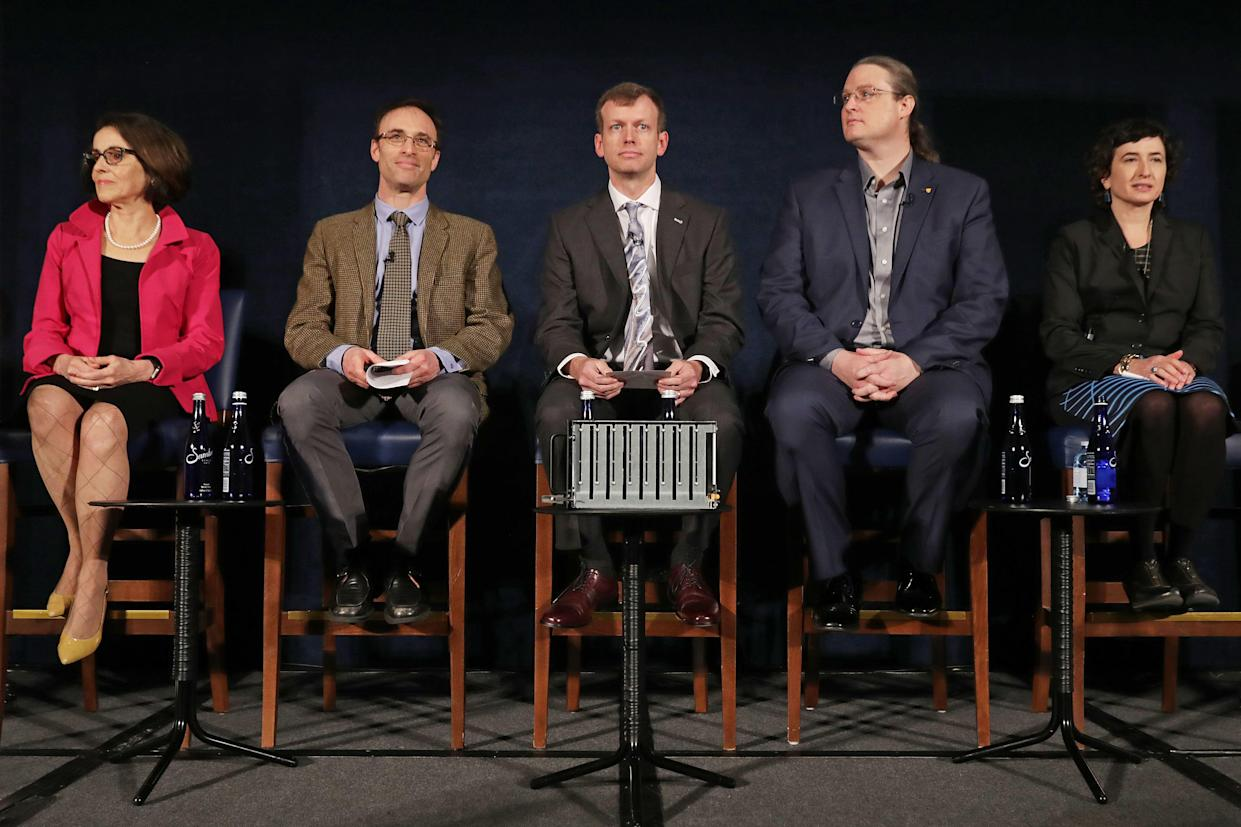 On hand for the D.C. briefing: National Science Foundation director France Cordova, Event Horizon Telescope director Sheperd Doeleman, Dan Marrone of the University of Arizona, Avery Broderick of the University of Waterloo and Sera Markoff of the University of Amsterdam. (Photo: Chip Somodevilla/Getty Images)