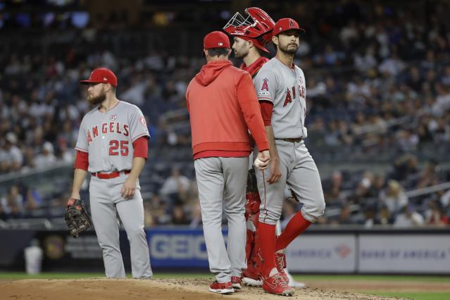 Los Angeles Angels Noe Ramirez leaves during the second inning of a baseball game against the New York Yankees Tuesday, Sept. 17, 2019, in New York. (AP Photo/Frank Franklin II)