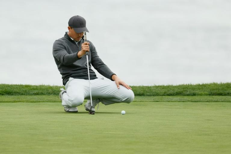 American Jordan Spieth lines up a putt on the way to a final-round 70 and a share of third place in the US PGA Tour Pebble Beach Pro-Am
