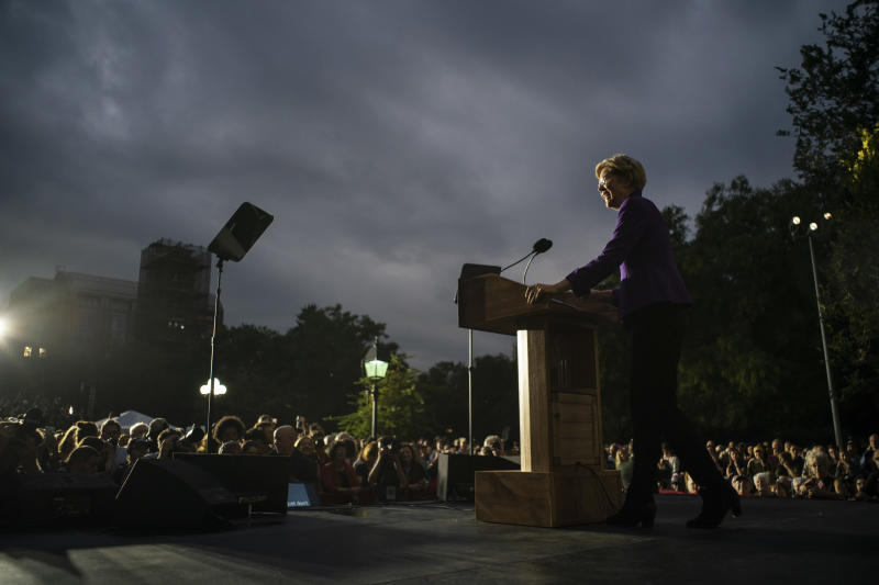 Sen. Elizabeth Warren (D-Mass.), a Democratic candidate for president, during a rally at Washington Square Park in Manhattan on Monday, Sept. 16, 2019. (Todd Heisler/The New York Times)