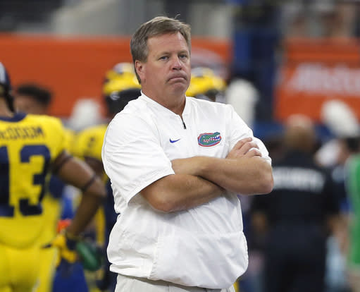 Jim McElwain was vague in a statement Monday about death threats to his program, and he apparently didn't elaborate when school administrators followed up with him after the bizarre media conference. (AP file photo)