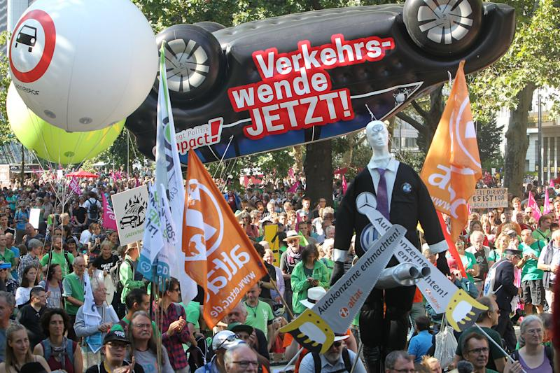 Demonstrators are pictured during a protest against the Frankfurt motor show IAA 2019, in Frankfurt am Main Germany, on September 14, 2019. - Frankfurt's biennial International Auto Show (IAA) opened its doors to the public on September 12, 2019, but major foreign carmakers are staying away while climate demonstrators march outside -- forming a microcosm of the under-pressure industry's woes. (Photo by Daniel ROLAND / AFP) (Photo credit should read DANIEL ROLAND/AFP/Getty Images)