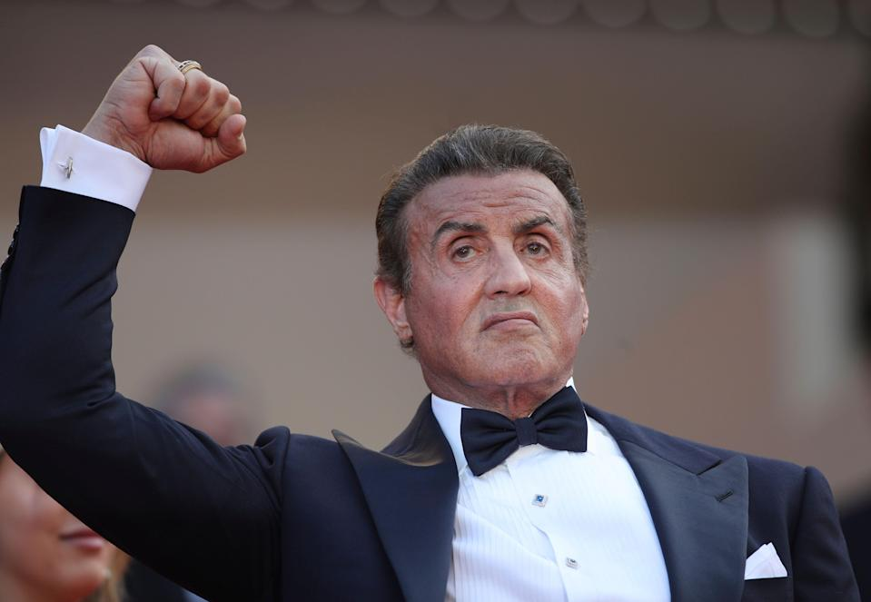 Actor Sylvester Stallone poses for photographers upon arrival at the awards ceremony of the 72nd international film festival, Cannes, southern France, Saturday, May 25, 2019. (AP Photo/Petros Giannakouris)