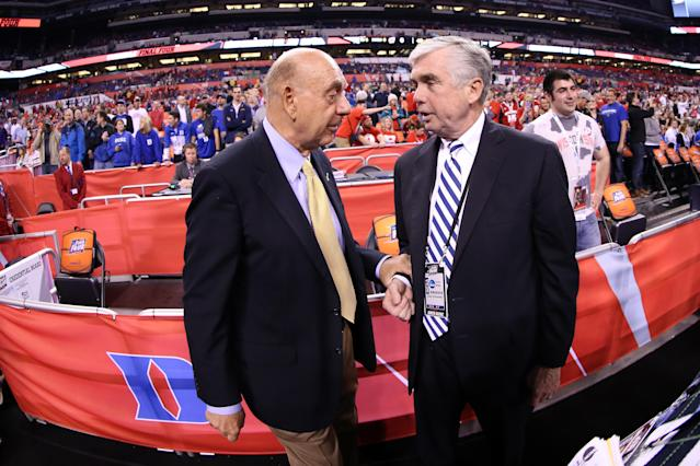 ESPN broadcaster Dick Vitale talks with Duke athletic director Kevin White before the NCAA title game on April 6, 2015, in Indianapolis. (Mike Lawrie/Getty)