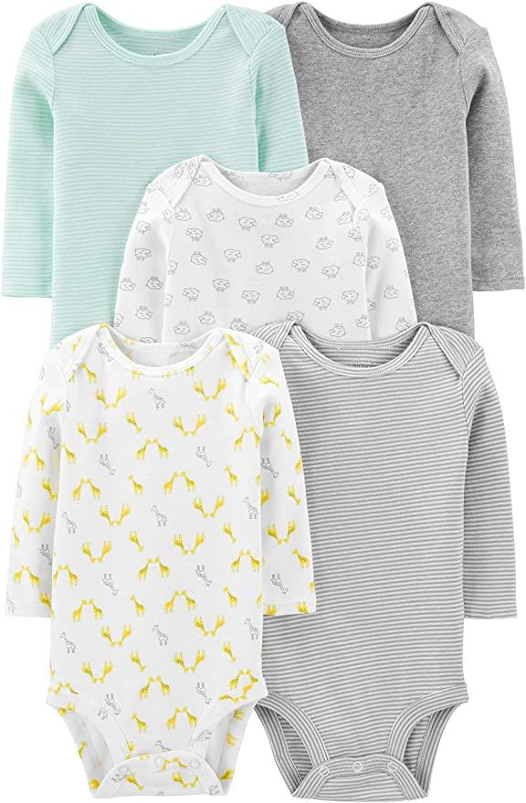 Simple Joys by Carter's Unisex-Baby 5-Pack Neutral Long-Sleeve Bodysuit Undershirts are on sale during Prime Day 2020.